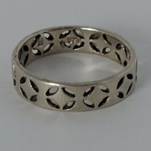 Sterling Silver 925 Open Work Metalwork Band Ring